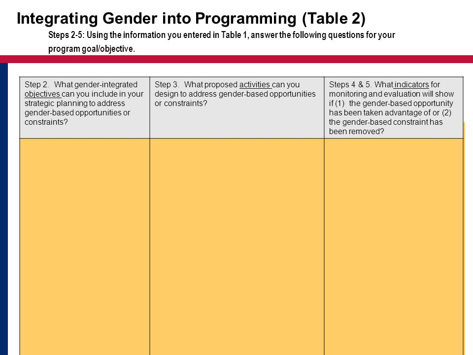 Integrating Gender into Programming (Table 2)
