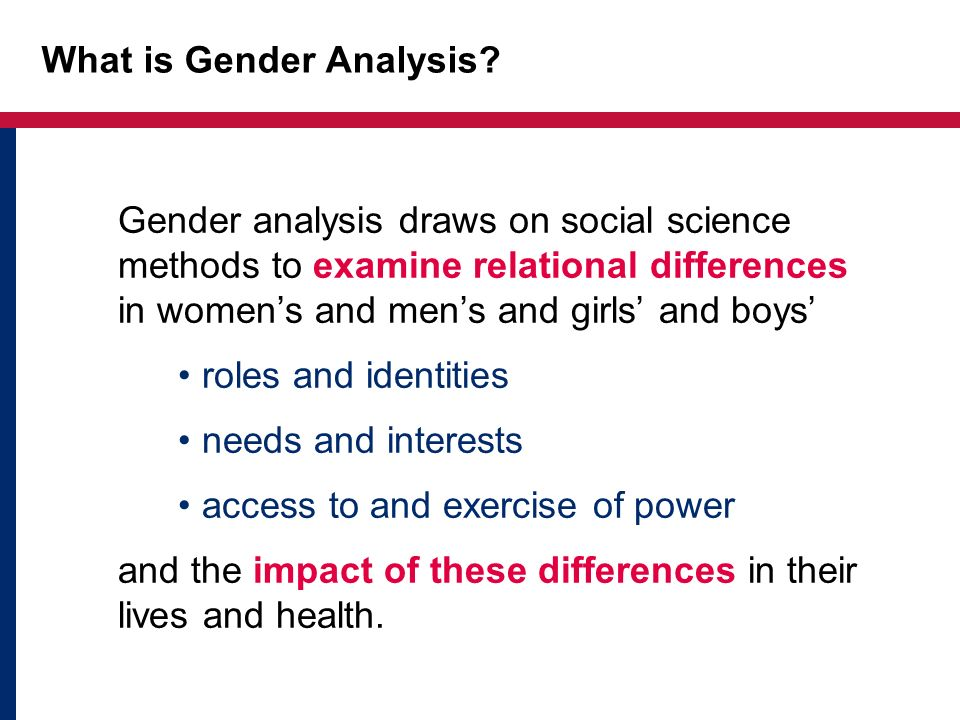 What is Gender Analysis