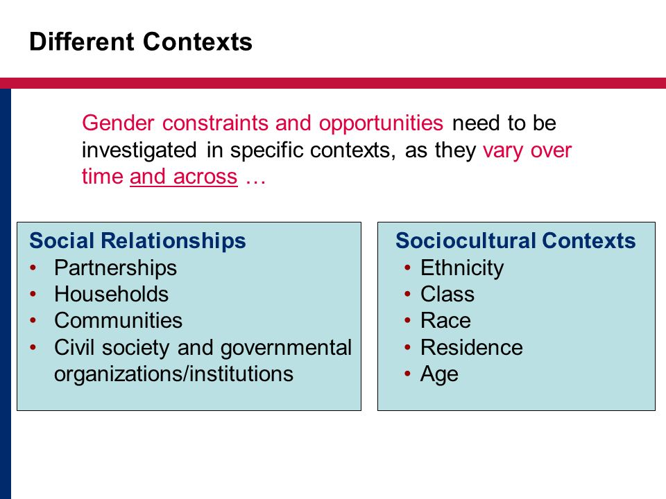 Different Contexts Gender constraints and opportunities need to be investigated in specific contexts, as they vary over time and across …