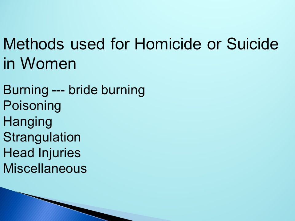 Methods used for Homicide or Suicide in Women
