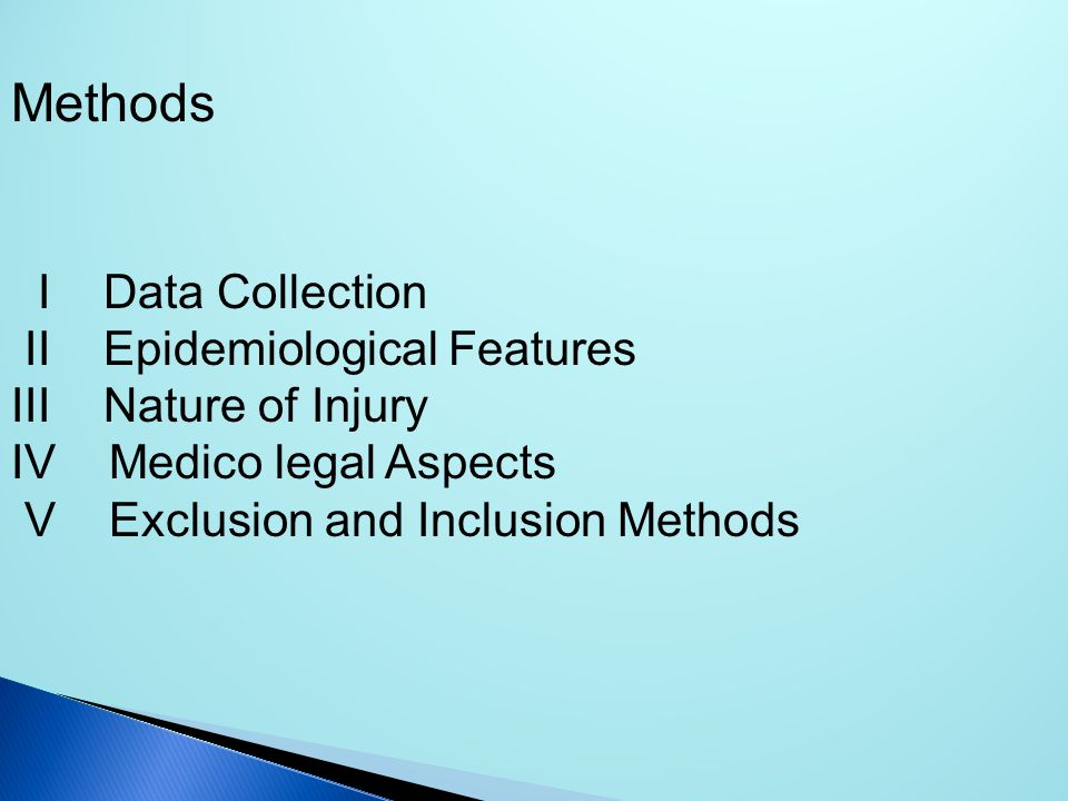 Methods I Data Collection II Epidemiological Features