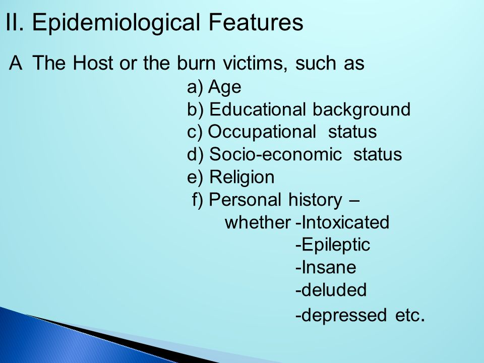 Epidemiological Features