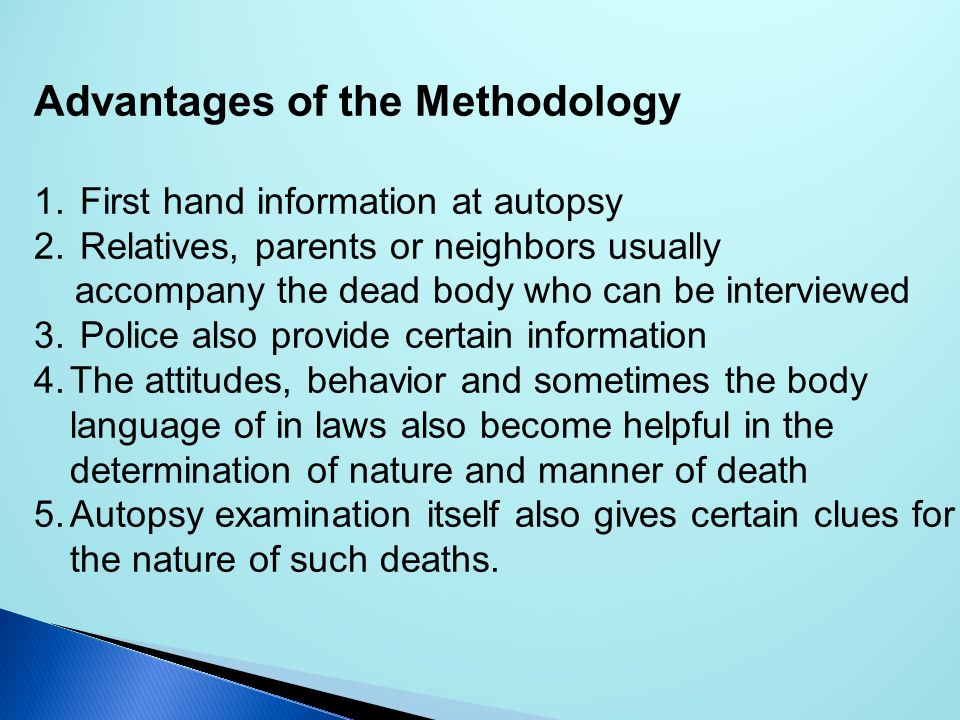 Advantages of the Methodology