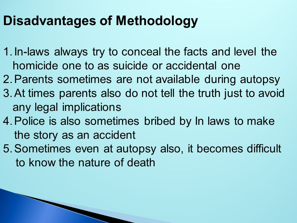 Disadvantages of Methodology