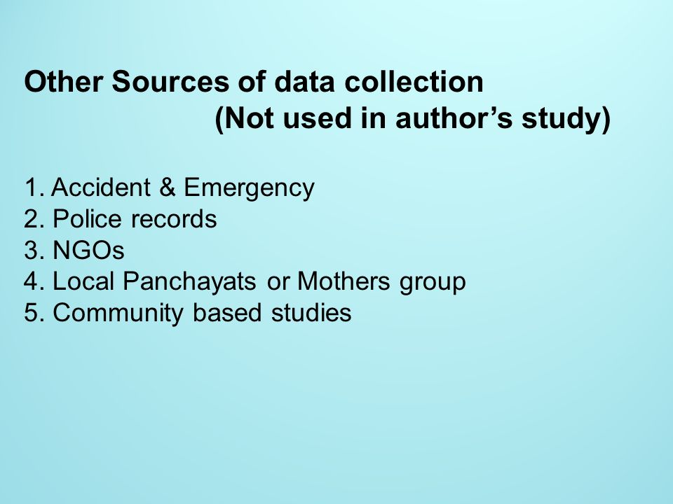 Other Sources of data collection (Not used in author's study)