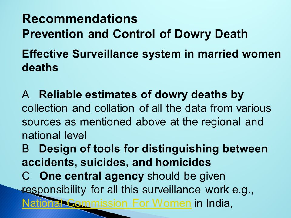 Recommendations Prevention and Control of Dowry Death
