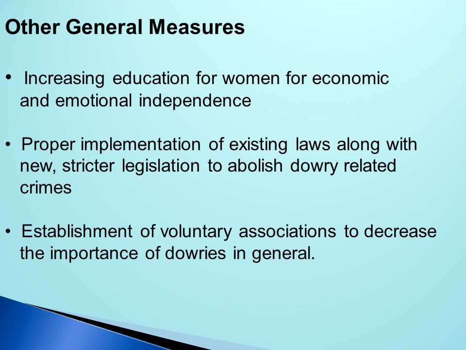 Other General Measures Increasing education for women for economic