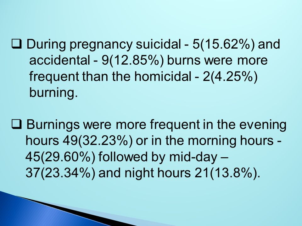 During pregnancy suicidal - 5(15.62%) and