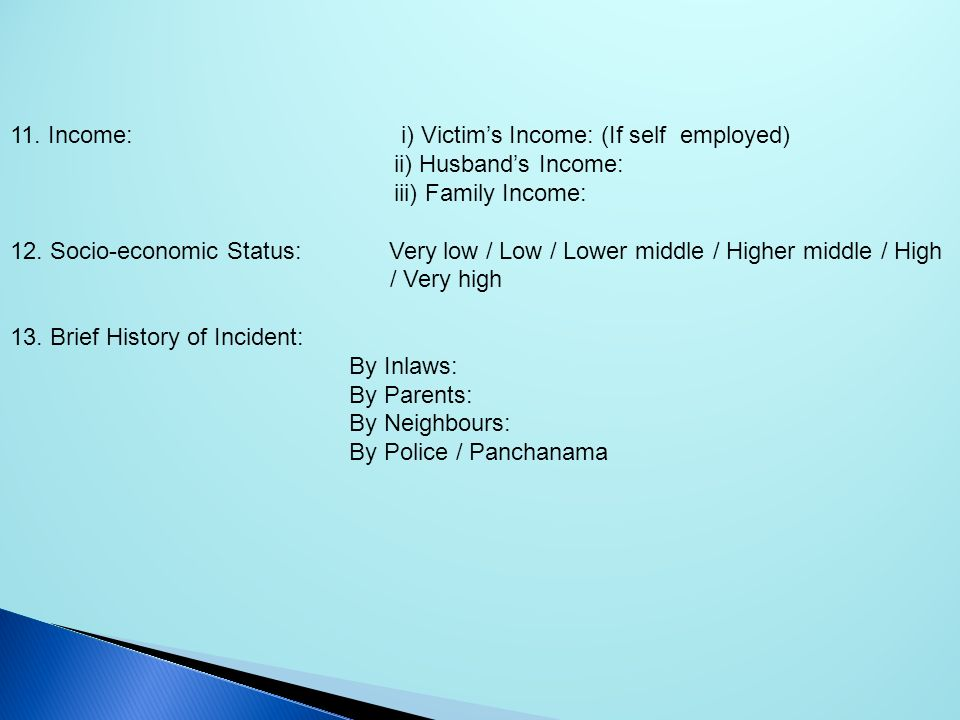 11. Income: i) Victim's Income: (If self employed)