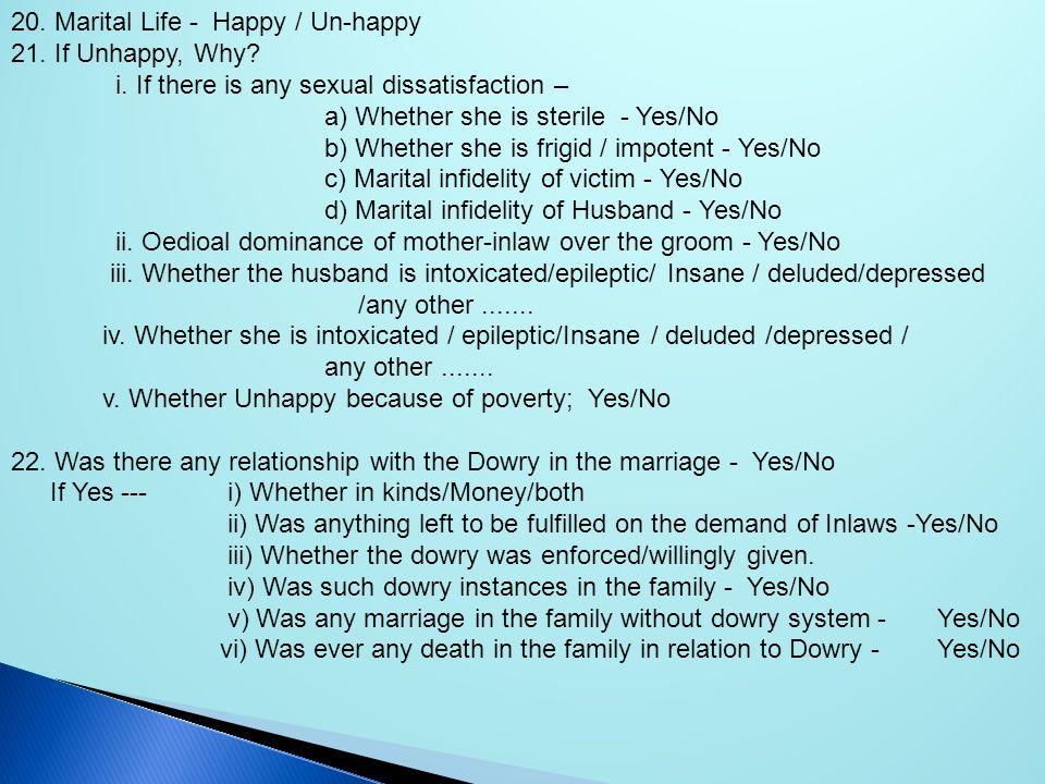 20. Marital Life - Happy / Un-happy