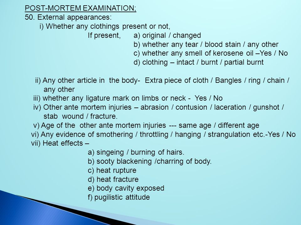 POST-MORTEM EXAMINATION;