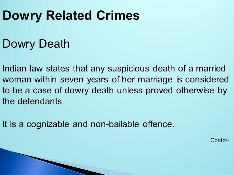 Dowry Related Crimes Dowry Death