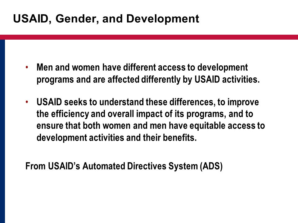 USAID, Gender, and Development