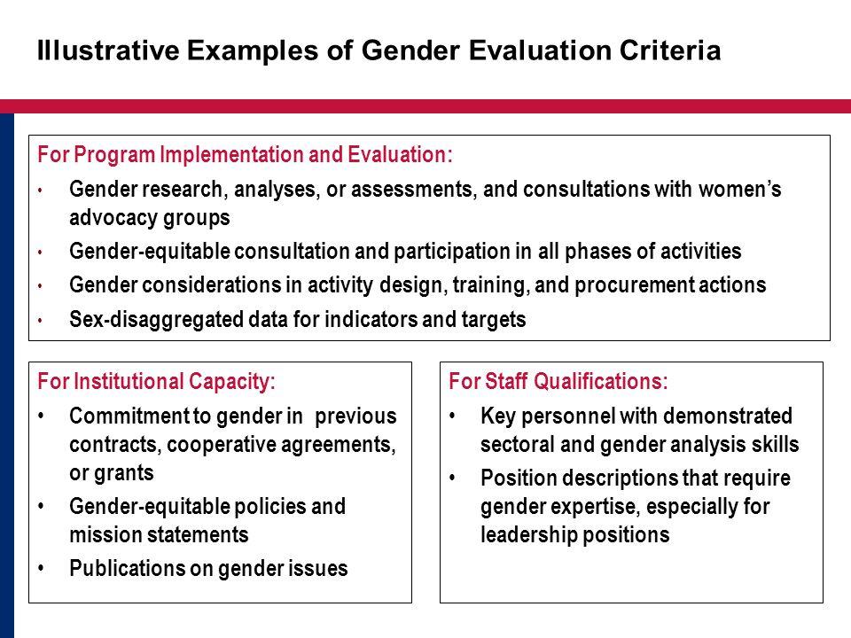 Illustrative Examples of Gender Evaluation Criteria
