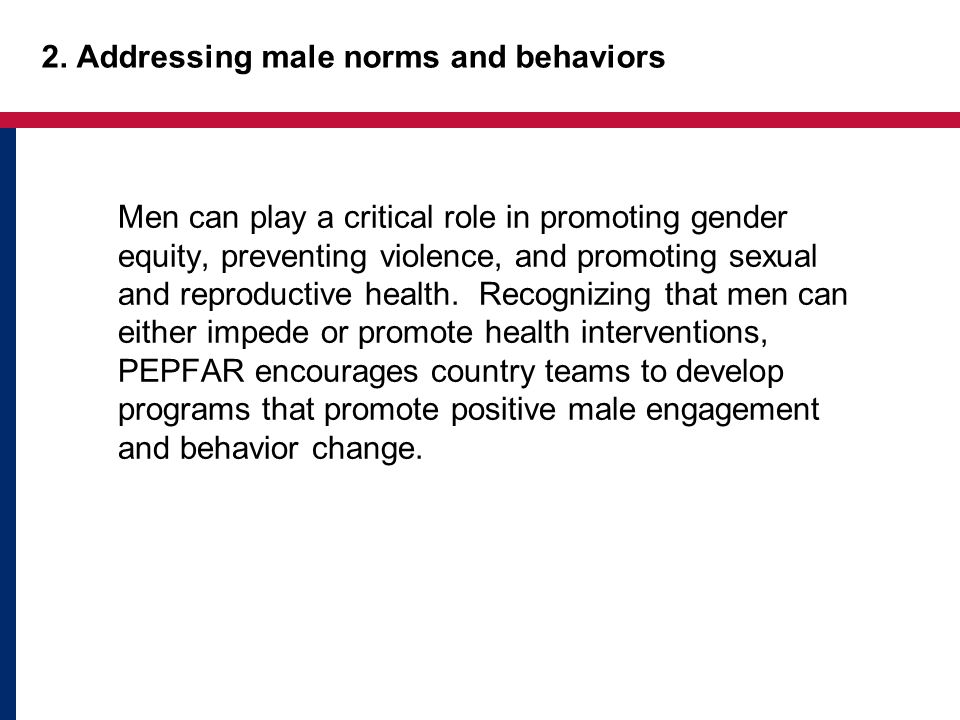 2. Addressing male norms and behaviors