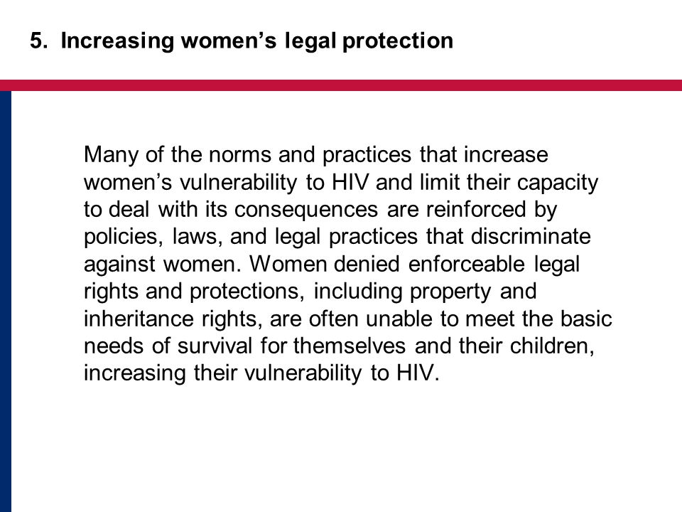 5. Increasing women's legal protection