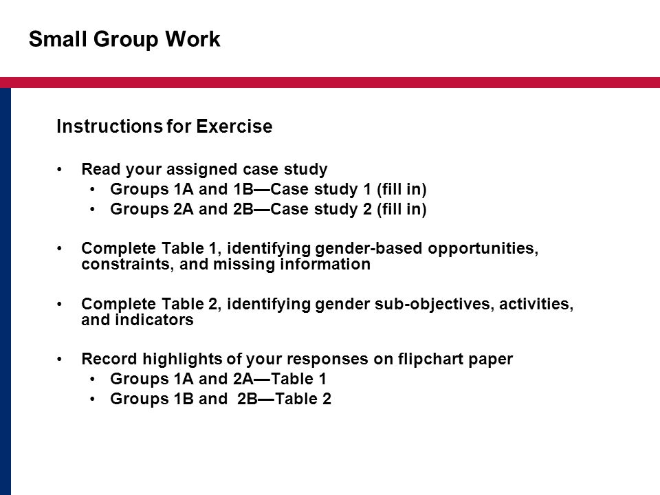 Small Group Work Instructions for Exercise