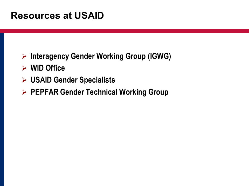 Resources at USAID Interagency Gender Working Group (IGWG) WID Office