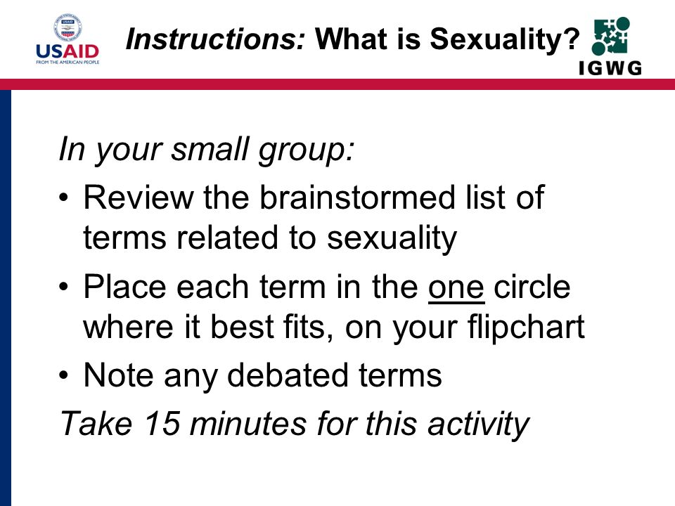 Instructions: What is Sexuality