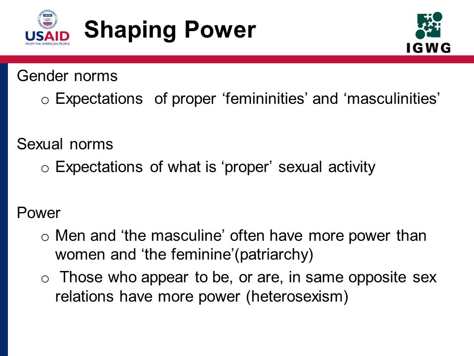 Shaping Power Gender norms