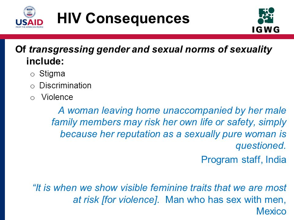 HIV Consequences Of transgressing gender and sexual norms of sexuality include: Stigma. Discrimination.