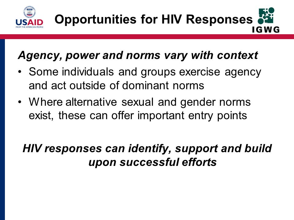 Opportunities for HIV Responses