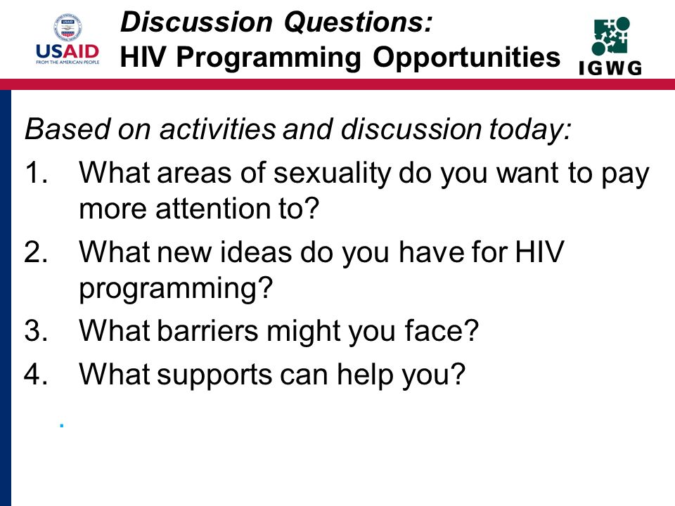 Discussion Questions: HIV Programming Opportunities
