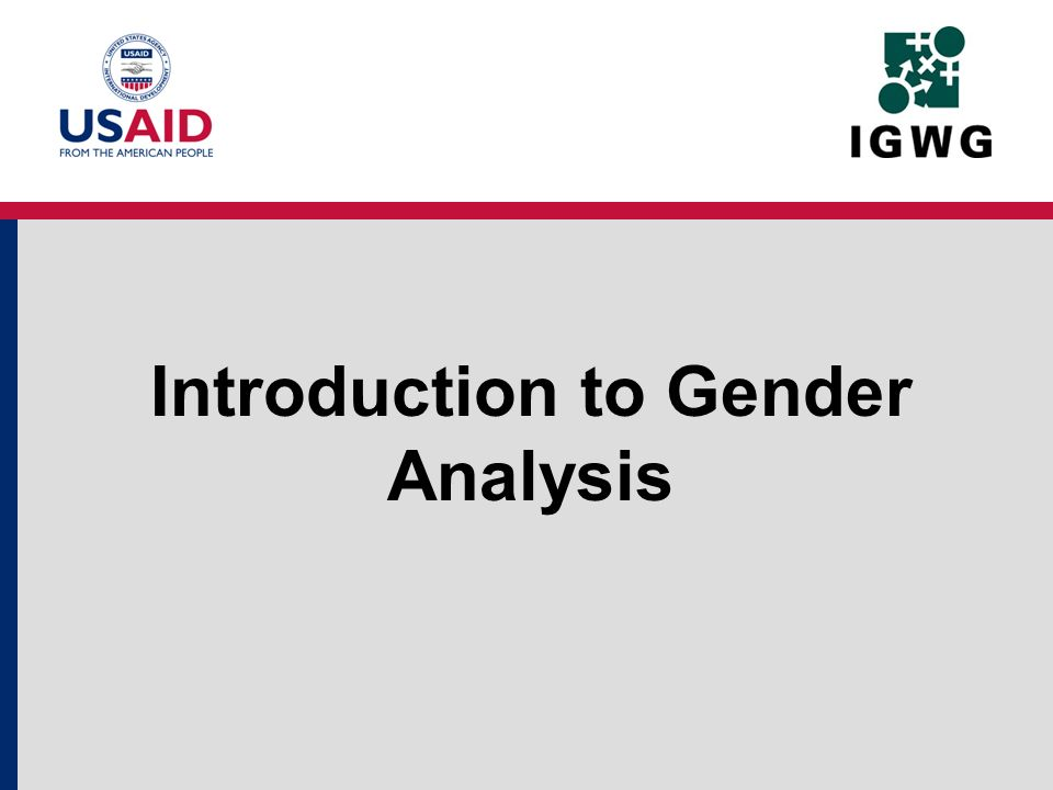 Introduction to Gender Analysis