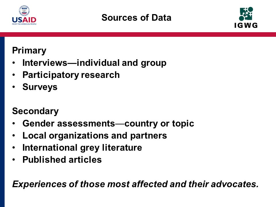 Interviews—individual and group Participatory research Surveys