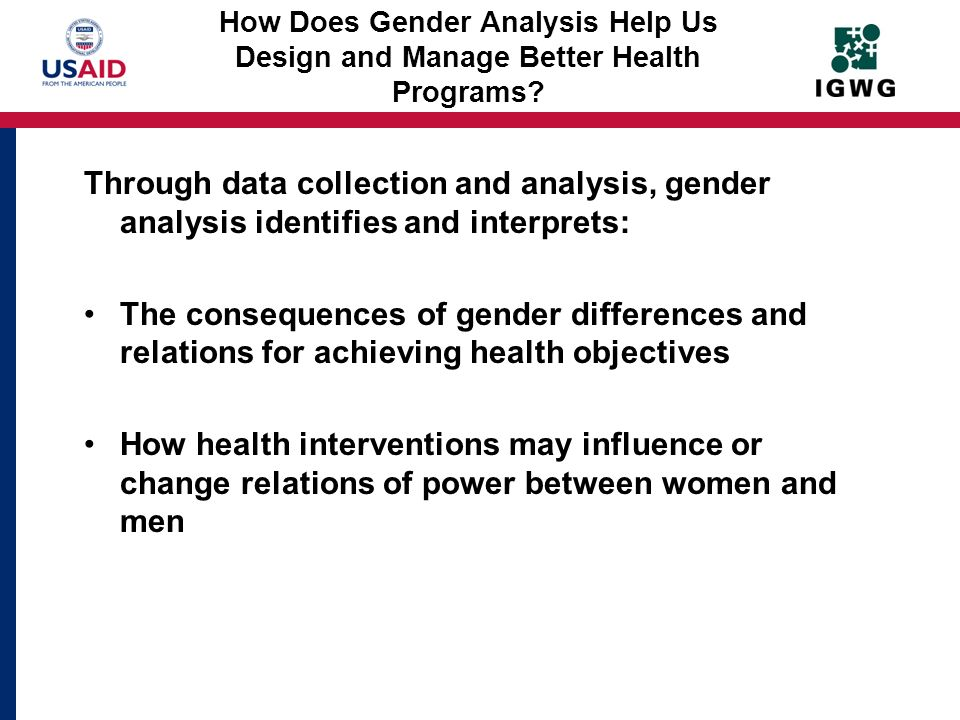 How Does Gender Analysis Help Us Design and Manage Better Health Programs
