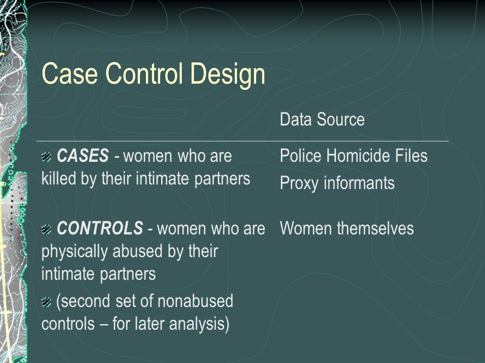 Case Control Design Data Source