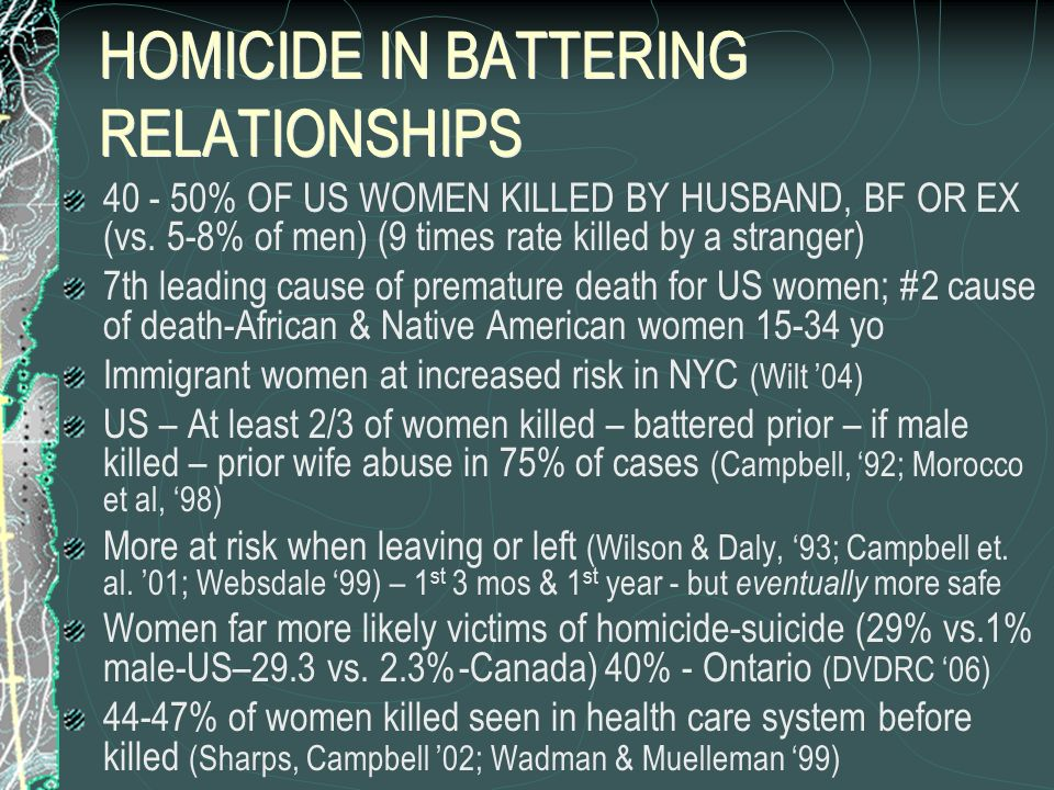 HOMICIDE IN BATTERING RELATIONSHIPS