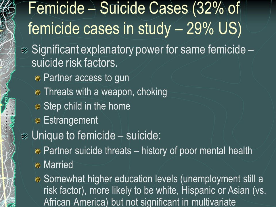 Femicide – Suicide Cases (32% of femicide cases in study – 29% US)