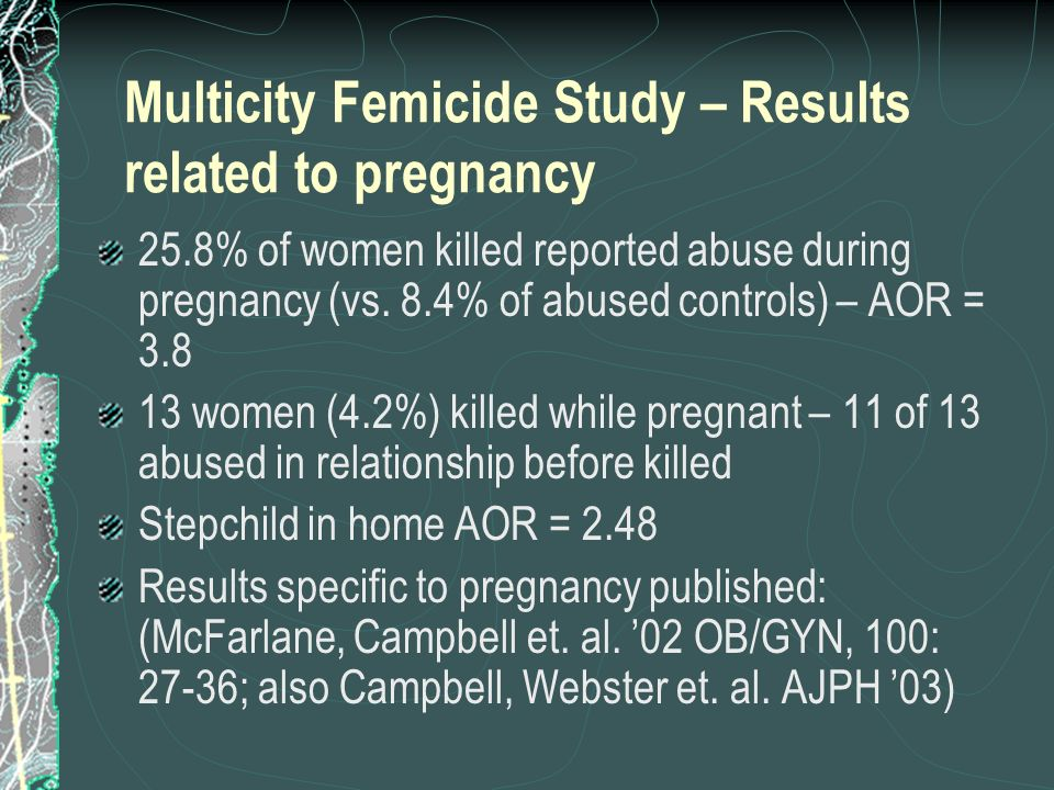 Multicity Femicide Study – Results related to pregnancy