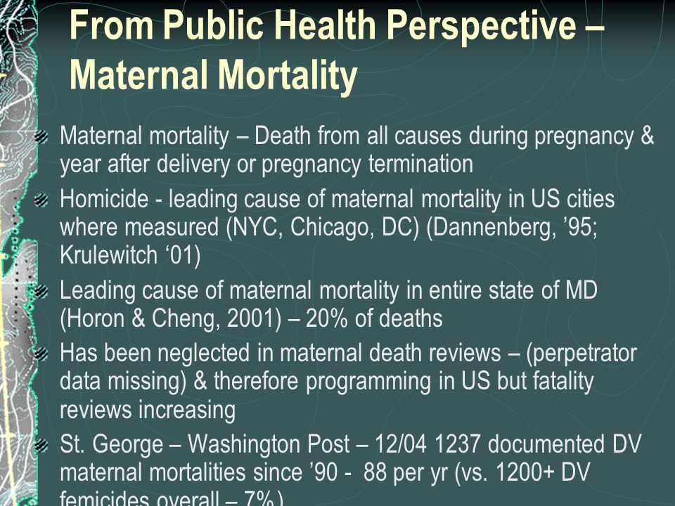 From Public Health Perspective – Maternal Mortality