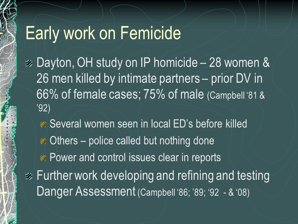 Early work on Femicide