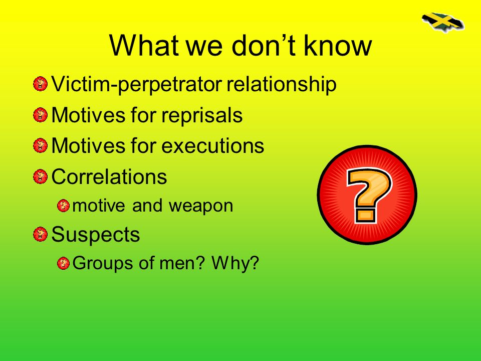 What we don't know Victim-perpetrator relationship