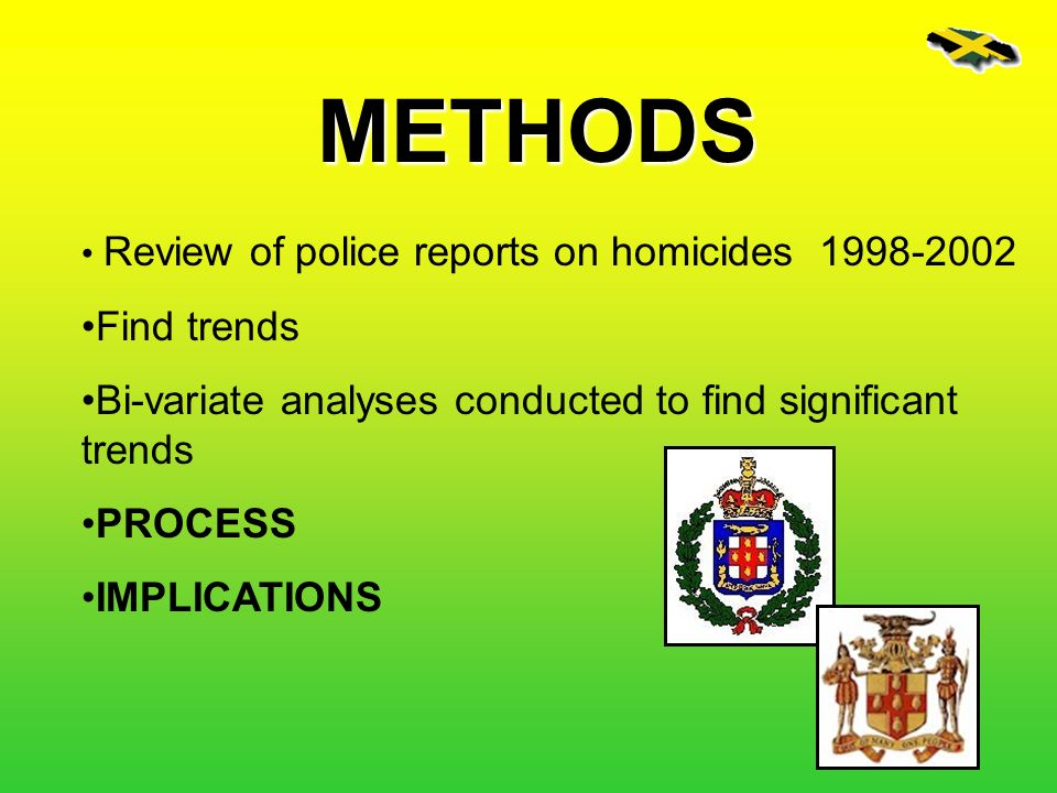 METHODS Review of police reports on homicides Find trends. Bi-variate analyses conducted to find significant trends.