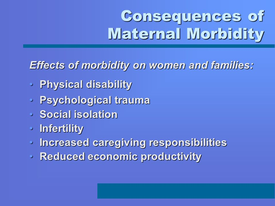 Consequences of Maternal Morbidity