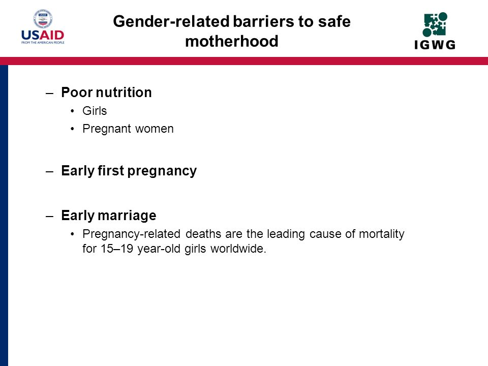 Gender-related barriers to safe motherhood