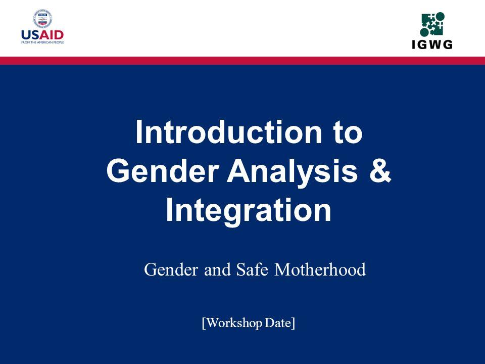 Gender and Safe Motherhood