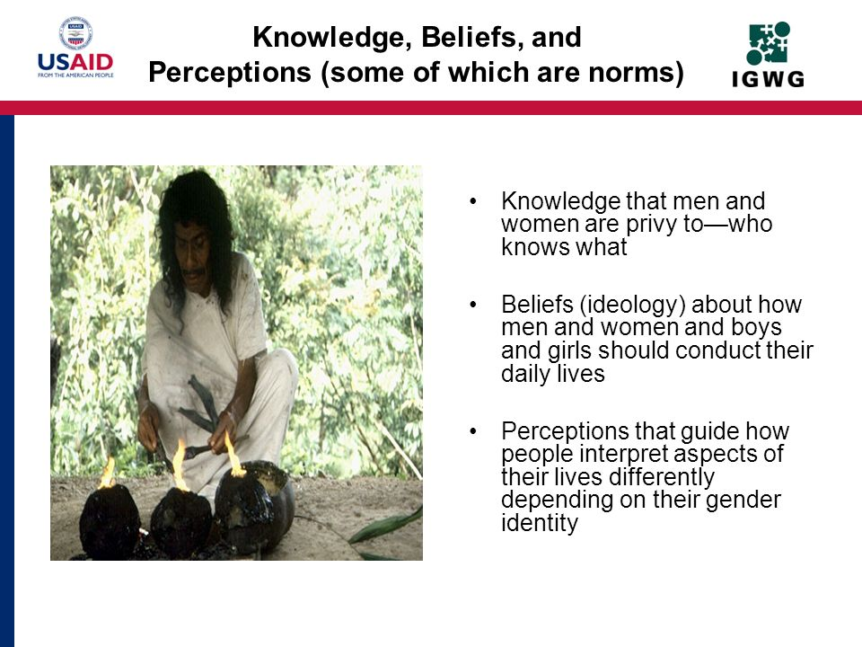 Knowledge, Beliefs, and Perceptions (some of which are norms)
