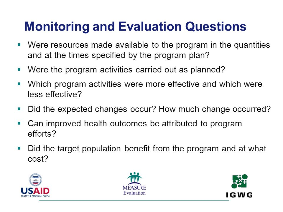 Monitoring and Evaluation Questions