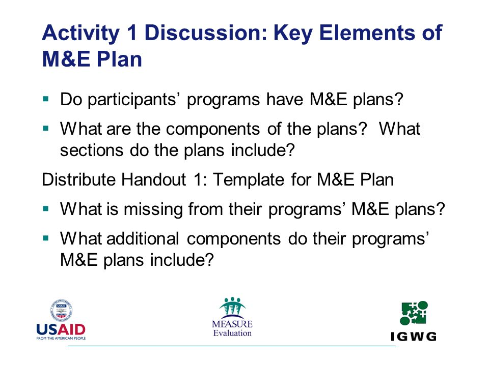 Activity 1 Discussion: Key Elements of M&E Plan