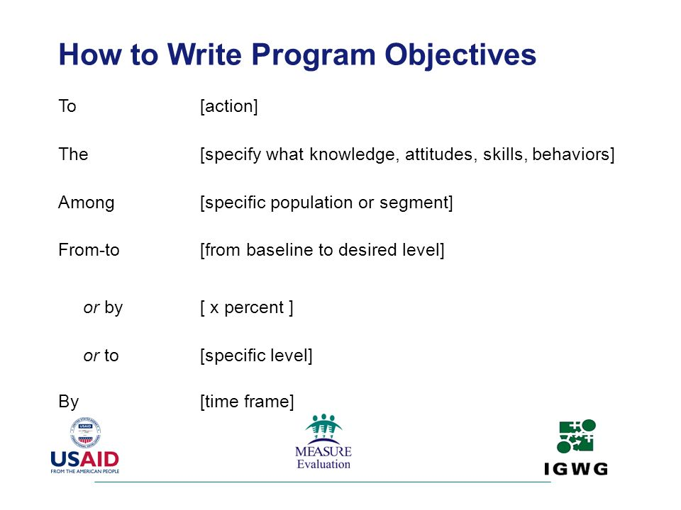 How to Write Program Objectives