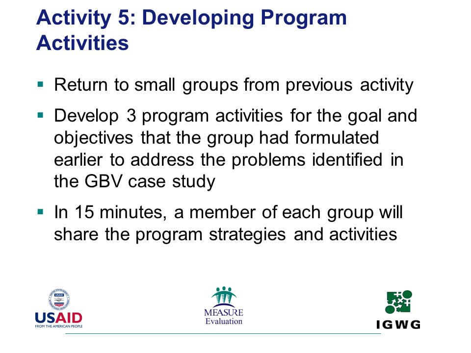Activity 5: Developing Program Activities
