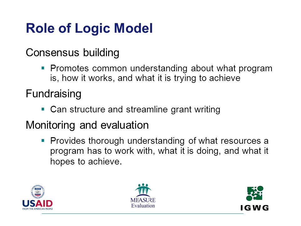 Role of Logic Model Consensus building Fundraising