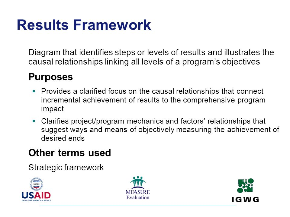 Results Framework Purposes Other terms used