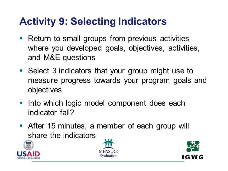 Activity 9: Selecting Indicators
