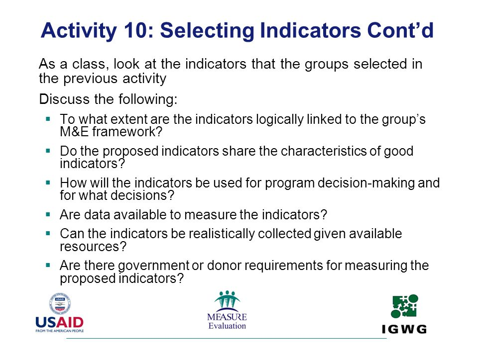 Activity 10: Selecting Indicators Cont'd